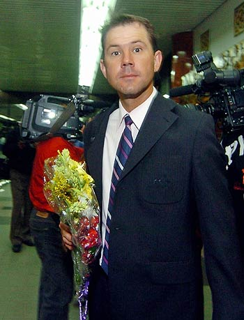 Ponting not looking for surprises as the Australian team arrived at Dhaka. &#0169 AFP
