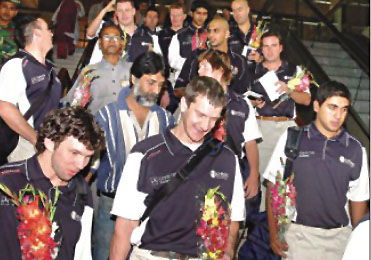 Players and officials of the Scotland cricket team on their arrival at the Zia International Airport on Monday. PHOTO: STAR