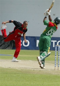 Aftab Ahmed on the way to a scinitillating 77 ball 92 in the 4th and final ODI against Zimbabwe.