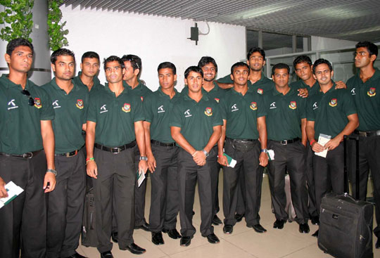 The Bangladesh cricket team at Dhaka airport prior to their departure for the Asia Cup