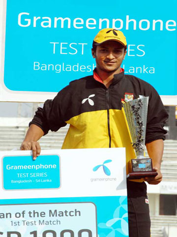 Shakib Al Hasan judged the Man of the Match - Bangladesh vs. Sri Lanka, Test 1