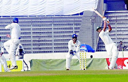All-rounder Mahmudullah plays a shot during his knock of 96 not out on the first day of the second Test match versus India at Sher-e-Bangla National Stadium